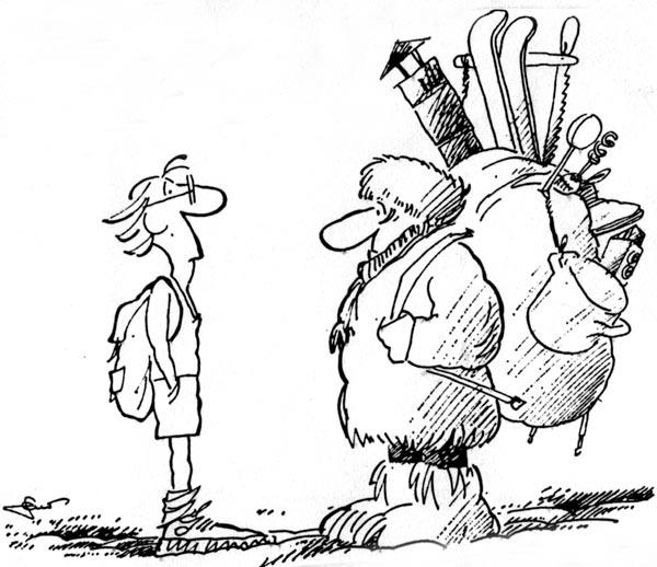 previše opreme - karikatura