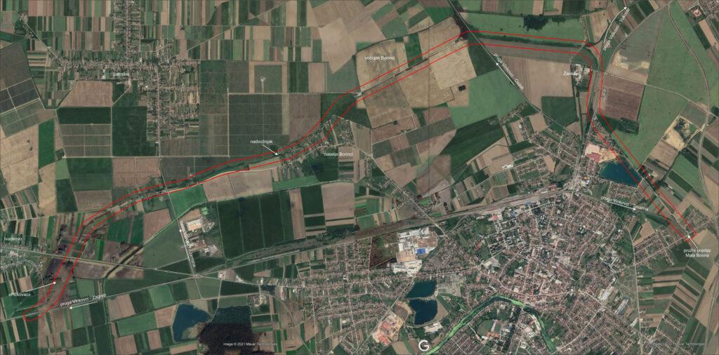 trasa ratne pruge - satelit